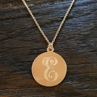 Engraved Initial Pendant Necklace