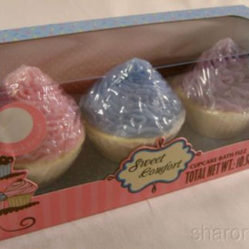 Set 3 Cupcake Bath Fizz Sweet Comfort Soap 300 g Gift Set Relax Soak Lather NEW