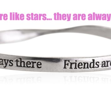 Fashion personality equilibrium bangle, the lettering bracelet (Friends are like stars...they are always there),a perfect gift !