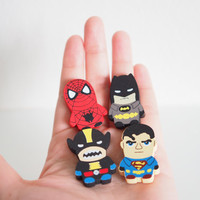 SALE Cute Super Hero Magnet Set the avengers, Wooden 4 Piece, Wood Animal Magnet Set, Home Decor, Cabin Decoration, Wood Cutout, Kitchen