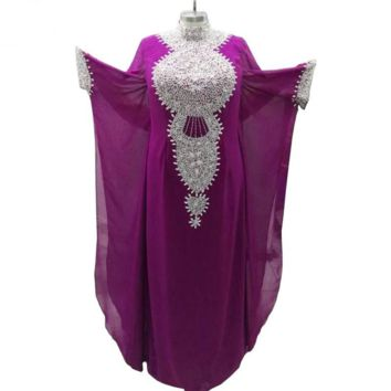Purple Arabic Evening Dresses Beaded Crystal 3/4 Sleeves Chiffon Formal Prom Gown