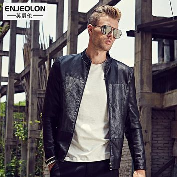 Leather PU Jackets Men slim fit black Clothing zipper sleeve Stand collar Male Casual Coats