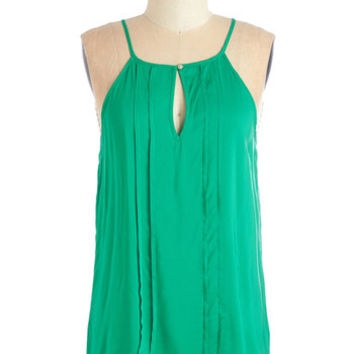 Mid-length Spaghetti Straps Style a Minute Top in Green