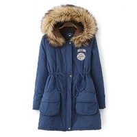 Womens Winter Hooded Fur Collar Thick Padded Long Outerwear