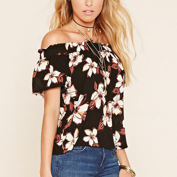 Off-The-Shoulder Chiffon Top