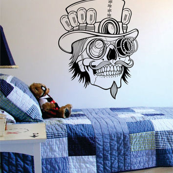 Steampunk Skull Art Decal Sticker Wall Vinyl