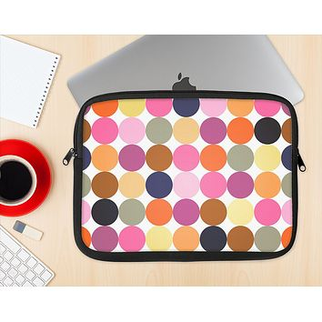 The Solid Pink & Blue Colored Polka Dots V2 Ink-Fuzed NeoPrene MacBook Laptop Sleeve