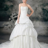 Strapless Taffeta Beaded Appliqued Ball Gown with Pick Up Skirt