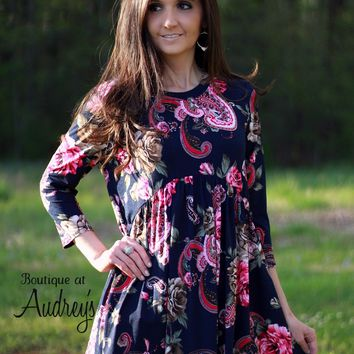 Honeyme Navy Top with Pink Paisley Print
