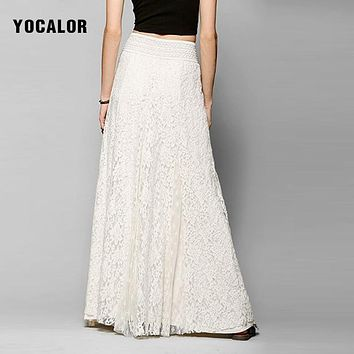 YOCALOR Slim High Waist Hollow Out Lace A Line Maxi Women Elegant Long Puffy Skirts Full Embroidered Peplum Skirt Party White