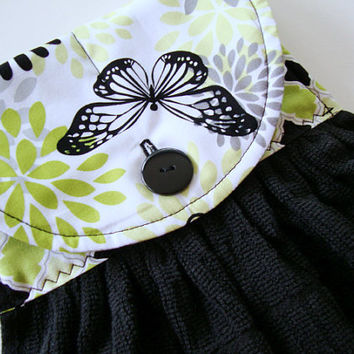 Button-Top Dish Towel - Quilted Hanging Kitchen Towel - Butterfly Kitchen - Black Dish Towel - Custom Kitchen Towel
