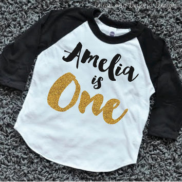 Girl First Birthday Outfit One Shirt PERSONALIZED Year Old