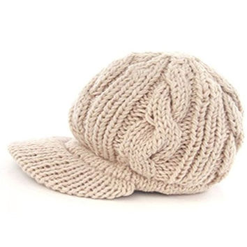 CARVIAN Women Men Unisex Slouchy Cabled Knit Beanie Crochet Visor Brim Hat Beige