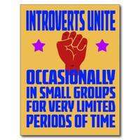 introverts unite postcard