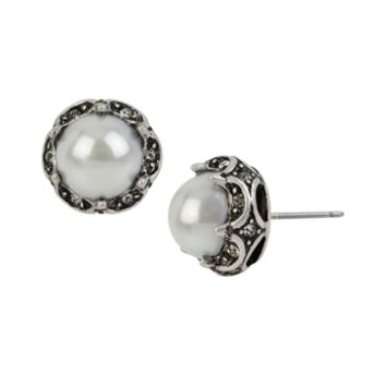 Betsey Johnson Something New Pearl Stud Earrings at Von Maur