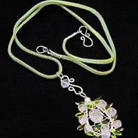 Tear Drop Rose Quartz Wire Sculptured Pink and Green Pendant Necklace