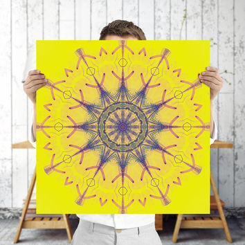 Mandala Geometric Wall Art - Boho Style - Bright Yellow Buddhist Wall Art, Digital Download | Bohemian Apartment Decor