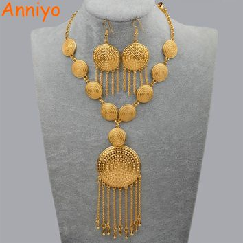 Anniyo African Wedding Jewellery Set Necklace Earrings for Women Gold Color Ethiopian Jewelry Nigeria/Brazil/Dubai Gift #083906