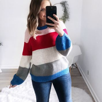 Weston Colorblock Cable Knit Sweater