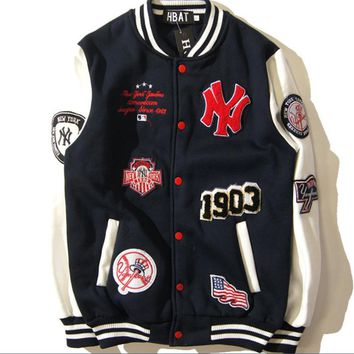 Winter MLB baseball clothing men and women coat jacket couple NY embroidery badge baseball men and women coat