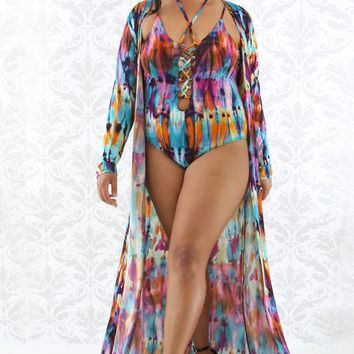 Multi-Color Tie Dye Corset Plus Size Swim Set