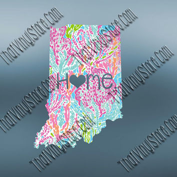 Indiana Heart Home Decal | I Love Indiana Decal | Homestate Decals | Love Sticker | Preppy State Sticker | Preppy State Decal | 054