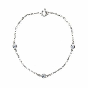 Dainty Cubic Zirconia Station Chain Bracelet in Sterling Silver, 7 Inches