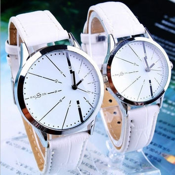 2013 New Fashion Casual Personality Couple Lovers Quartz Watches Wristwatches with PU Leather Band Couple Watches = 1929721924