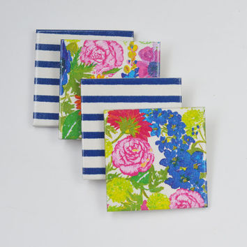 Flowers and Stripes Mix Coasters Spring Summer Ceramic Tile Coasters Mother's Day Gift, set of 4