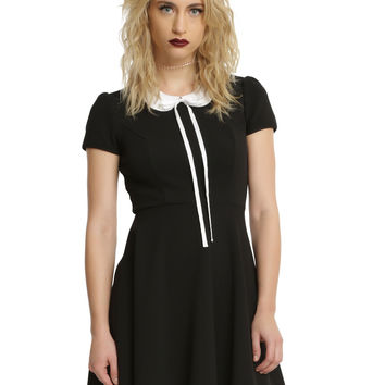 Black & White Collar Long Bow Fit & Flare Dress