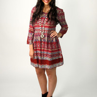 Lauralee Bell Sleeve Print Tunic Dress: Burgundy