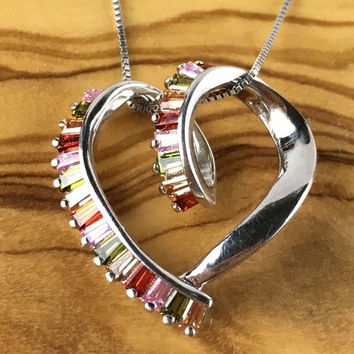 Sterling Silver Colorful Gemstone Lined Heart Pendant Necklace