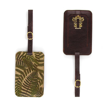 Luxury Leather Luggage Tag - Woodland Ferns