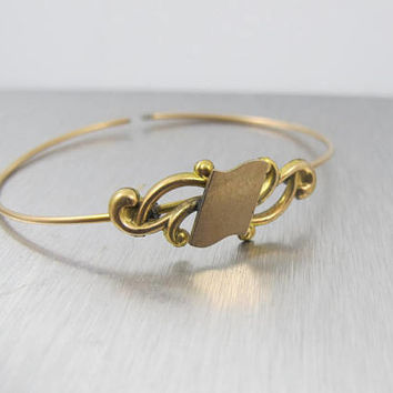 Gold Victorian Signet Wire Bracelet, Antique Yellow Gold Filled Monogram Signet Jewelry, Cuff Bangle Bracelet