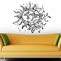 Moon Wall Decal Vinyl Sticker Decals Sun And Moon Crescent Dual Ethnic Stars Night Symbol Sunshine Bohemian Boho Home Decor Bedroom ZX2