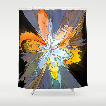 Gold Flower Abstract Shower Curtain by Awesome Palette