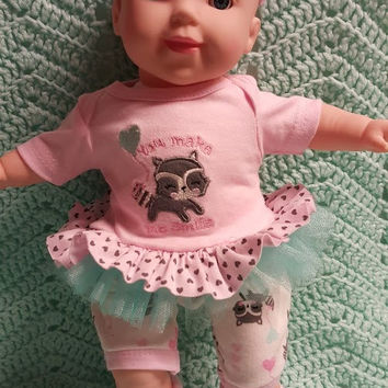 "15 inch Baby Doll Clothes ""You Make Me Smile"" (15 inch) doll outfit  dress, leggings,socks, and headband raccoon balloon L7"