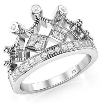 Crown Tiara CZ Band Ring 925 Sterling Silver Cubic Zirconia Princess Size 8