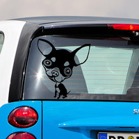 Car Window Decal Chihuahua  Dog Decals Paws Vinyl Sticker fits for Hood,  Laptop  Macbook any Gadget   MM228