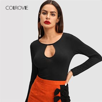 COLROVIE Black Solid Workwear Cut Out Classic T Shirt For Girls 2018 Autumn Long Sleeve Tee Sexy Female Tops Tee Women clothes