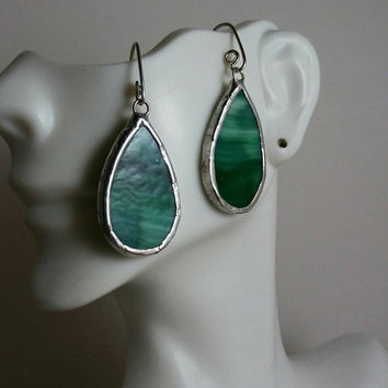 Stained glass earrings/ stained glass jewelry / green glass leaves earrings / handmade artisan jewelry / trending / art glass/ hip chick