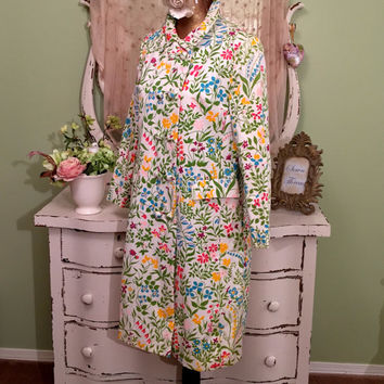60s Floral Coat, 1960s Long Buttoned Coat, Jackie O Style Midcentury coat, Retro Jacket, Garden Party Handmade Coat, Womens Outerwear, Sz M