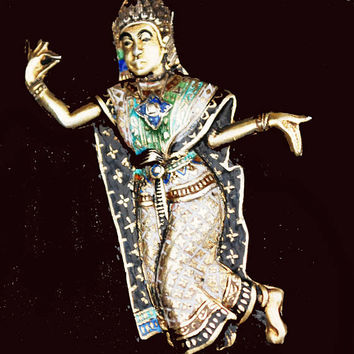 Sterling Thailand Dancer Brooch- Gold Wash- black blue green Enameling - gold plated - Siam figurine dancing pin