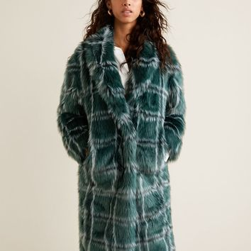 Checked faux fur coat - Women | MANGO United Kingdom