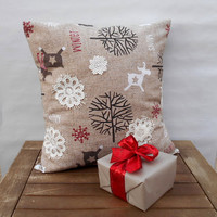 Christmas Pillow Cover, Holiday Pillow, Deer Throw Pillow Cover, Lace Snowflake Pillow, Pillow Cover 16 x 16, Decorative Throw Pillow