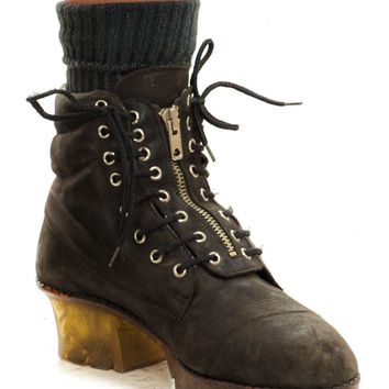 Vintage 90's Cyber Street Leather Boots - US 7.5