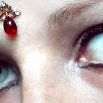 Little Red Bindi, gold filigree, skin gem, fairy, goddess, bollywood, fairy, tribal fusion, bellydance, glass cabochon, gypsy, third eye