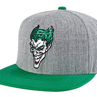 Concept One Mens Joker DC Comics Snapback Hat - Grey One Size Fits Most Grey