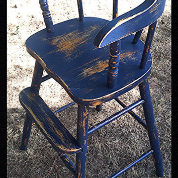 Vintage Wood high chair or booster Americana blue