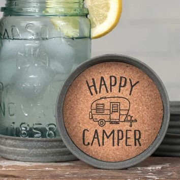 Mason Jar Lid Coasters - Happy Camper